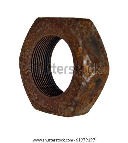 Old rusty steel nut on a white background