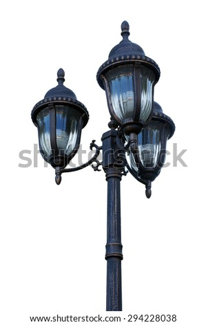 old street lamppost isolated on white background. - stock photo