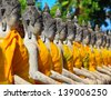 old Temple Wat Yai Chai Mongkhon of Ayuthaya Province Thailand - stock photo