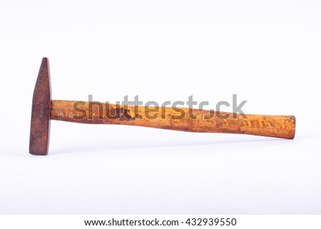 old used  Tack hammer on white background tool isolated