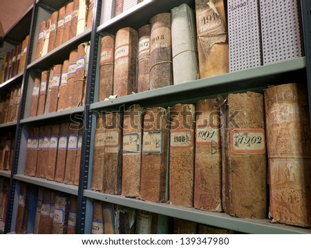 old vintage files in a storage room - stock photo