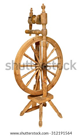 Old Wooden spinning Wheel isolated on white background.   - stock photo