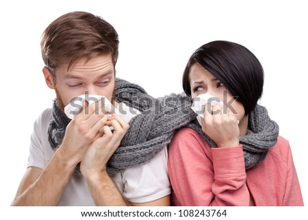 ?olds man and woman, wrapped in a scarf - stock photo