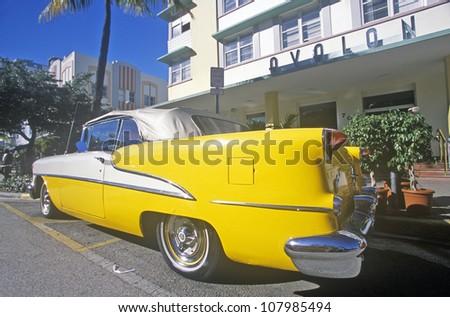 1955 Oldsmobile parked in south beach, Miami Beach, Florida - stock photo