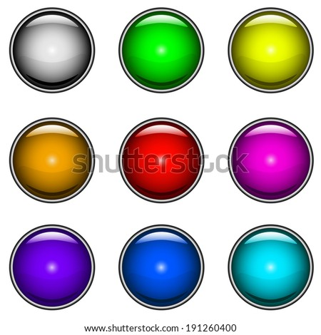 ?ollection of colorful glossy buttons for web design.