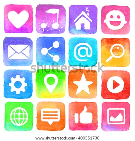 ?olorful watercolor icons. Social media icons set