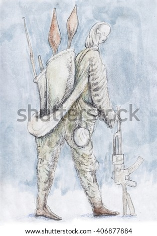 ?ommandos . with firearm. Soldier Illustration. - stock photo