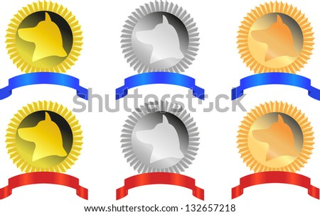 ?omplete set of signs of winners of exhibition for dogs - stock photo