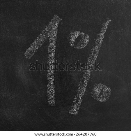 1% on a blackboard with white chalk texture background/ 1% - stock photo