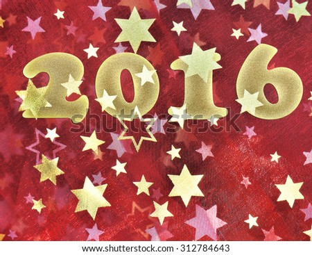 2016 on a piece of red fabric  with golden stars