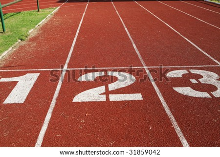 1 2 3 on a running track finish line
