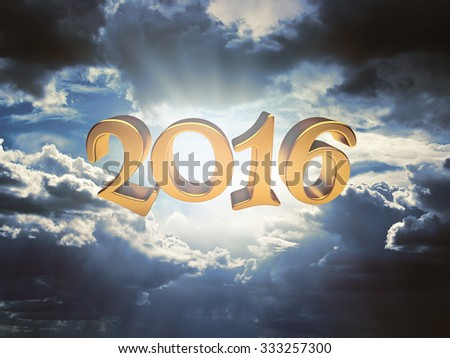 2016 on background of dark clouds before a thunderstorm - stock photo