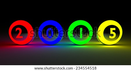 2015 on colored balls. - stock photo