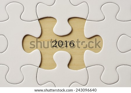 """2016"" On Missing Puzzle Pieces - stock photo"