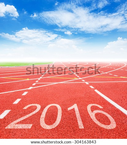 2016 on red racing track with blue sky. 2016 Goals concept.