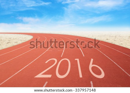 2016 on red racing track with sand and blue sky. 2016 new year concept - stock photo