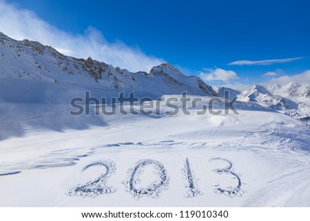2013 on snow at mountains - Hochgurgl Austria - nature and sport background - stock photo