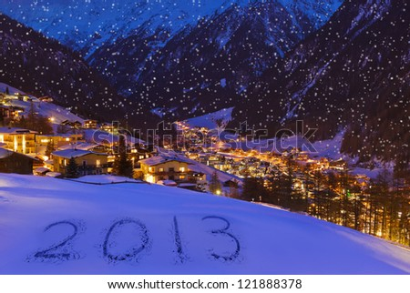 2013 on snow at mountains - Solden Austria - celebration background - stock photo