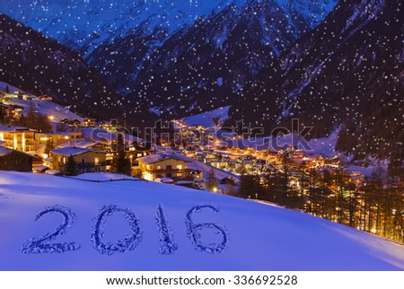 2016 on snow at mountains - Solden Austria - celebration background - stock photo