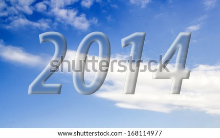2014 on the clouds in the blue sky