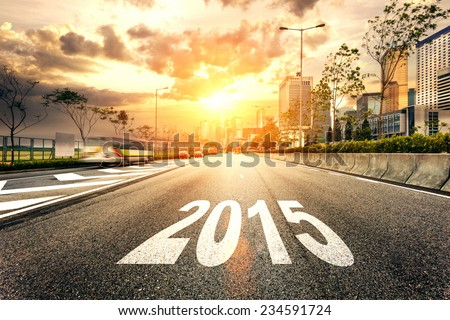 2015 on the road and cityscape - stock photo