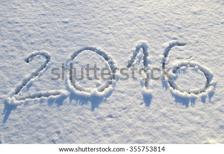 2016 on the snow for the new year - stock photo