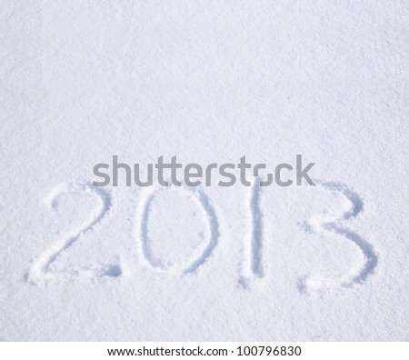 2013 on the snow for the new year and christmas - stock photo
