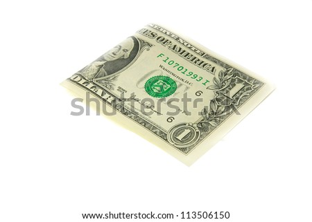 one bill of one US dollar - stock photo