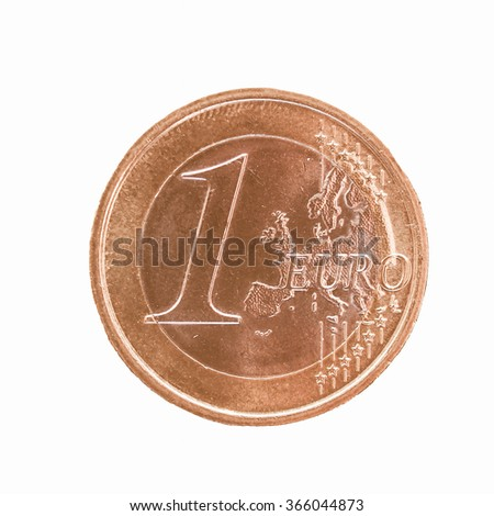 One Euro coin isolated over white background vintage