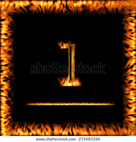 1 One Fire Digit Letter Symbol Stock Illustration 219683266