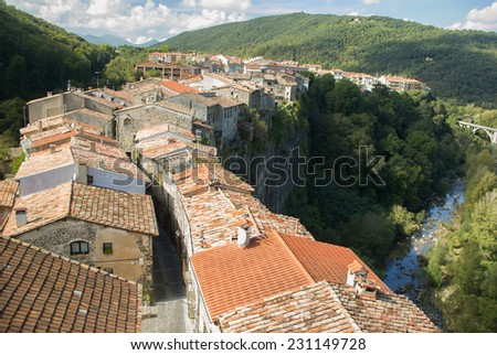 One view in the medieval village of Castefollit de la Roca.Catalonia.Spain - stock photo