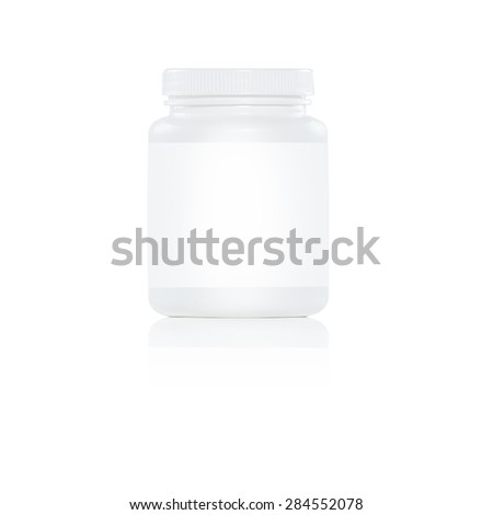 one white plastic pill bottle with white label on white background - stock photo