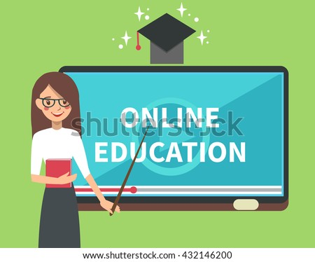 Online education illustration of teacher with tablet look like school board. Online education background. Online education concept. - stock photo