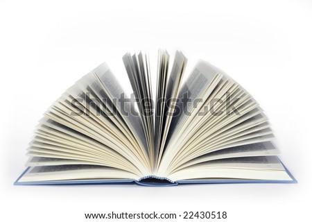 open book on white background - stock photo