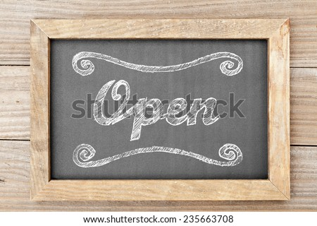 'Open' chalk writing on old vintage black chalkboard - stock photo