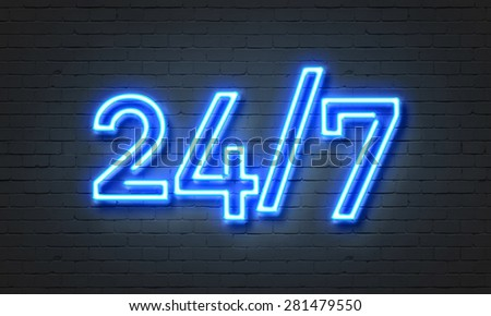 24/7 open concept on brick wall background - stock photo