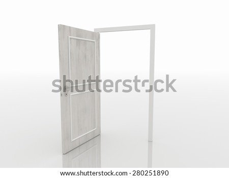 Open door isolated on white background and reflective white floor.