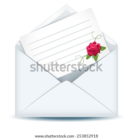 Open envelope with paper and pink rose - stock photo