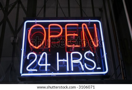 """Open 24 hrs"" ""Neon Sign"" - stock photo"