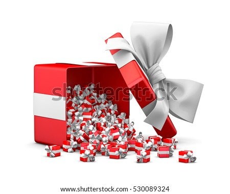 open red white gift box for Christmas, New Year's Day 3d rendering