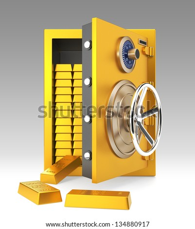 Opened goldensafe with gold bars inside