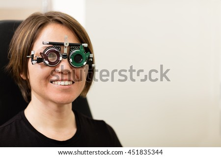 Ophthalmological Exam Wearing Eye Test Glasses