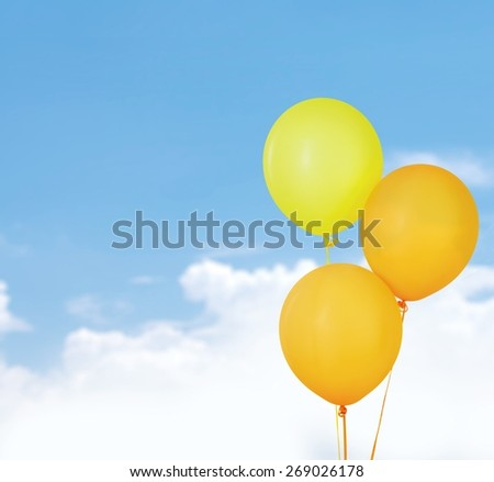 3. 3 orange balloons isolated on white - stock photo