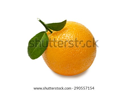 Orange with leaves isolated on white background. Clipping path