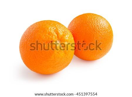 Oranges. Ripe oranges isolated on white background. - stock photo