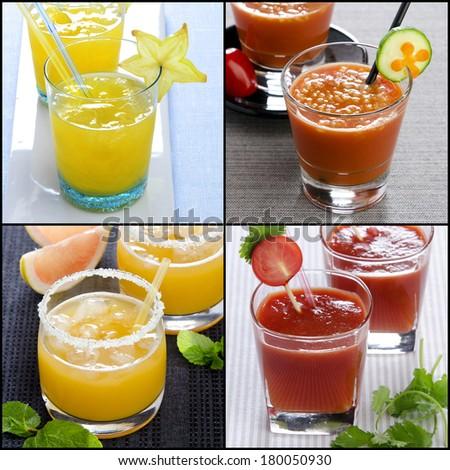 organic cocktail - collage mint grapefruit ���arambola pomegranate - stock photo