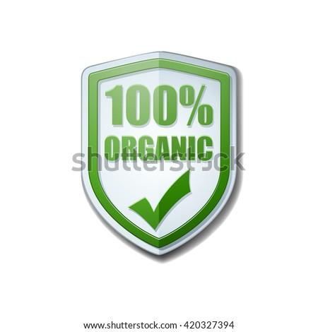 100% Organic shield sign - stock photo
