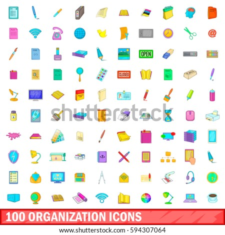 100 organisation icons set in cartoon style for any design  illustration