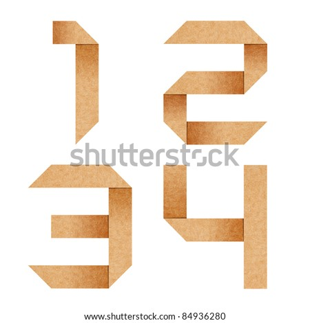 1,2,3,4 Origami alphabet letters from recycled paper with clipping path