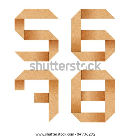 5,6,7,8 Origami alphabet letters from recycled paper with clipping path
